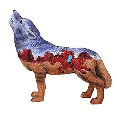 Pacific Giftware The Wolf Spirit Collection Indian Rider Wolf Collectible Figurine Howling Wolf 6.25L