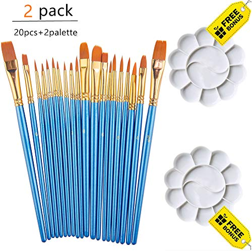 Paint Brushes Set, Round Pointed Tips Painting Brush Artist Professional Nylon Hair Paintbrushes with 2 Palettes for Acrylic Oil Watercolor, Face Nail Art, Miniature Detail Blue (2 Sets of 20 Pieces) (4 0 Paint Brush)