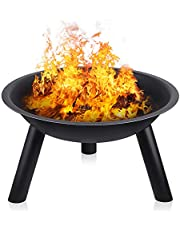 INTEY Large Fire Pit with Black Iron Folding Outdoor Garden Patio Heater Fire Bowl Beach Fire Pot Heater Grill Camping Bowl BBQ Burner for Wood & Charcoal for Forest