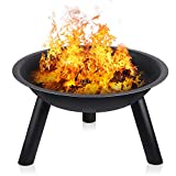INTEY Large Fire Pit with Black Iron Folding Outdoor Garden Patio Heater Fire Bowl Beach Fire Pot with 58cm Diameter Heater Grill Camping Bowl BBQ Burner for Wood & Charcoal for Forest