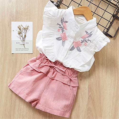 ZHIZHEN Girls 2019 Summer Children Cute Flower Sleeve Clothing Shorts Set 2 Pieces 6T White -