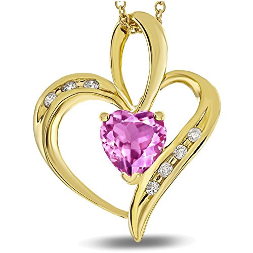 Star K Heart Shape 6mm Created Pink Sapphire Pendant Necklace 10 kt Yellow Gold (Pink Sapphire Yellow Necklace)