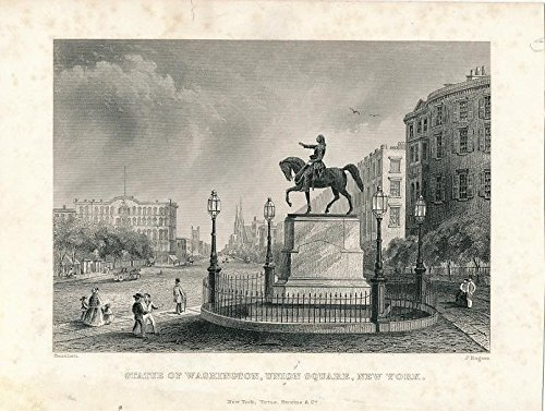 Washington statue at Union Square New York ca. 1850 old vintage U.S. view print