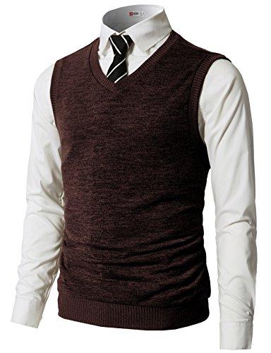 H2H Mens Slim Fit Casual V-Neck Knit Vest Darkbrown US S/Asia M (CMOV042)