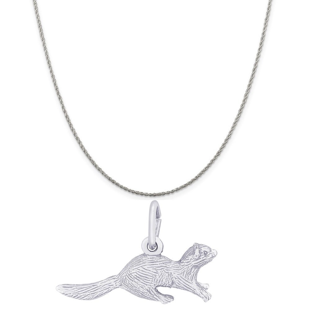 Rembrandt Charms Sterling Silver Ferret Charm on a 16 18 or 20 inch Rope Box or Curb Chain Necklace