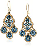 Miguel Ases Small Quadruple Swarovski Cluster Center Contrast Drop Earrings, Egyptian Blue