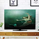 iPrint LCD TV dust Cover,Mermaid,Computer Graphics of Mermaid Underwater Life Picture Dreamlike Design,Jade Green Teal Ivory,3D Print Design Compatible 55'' TV