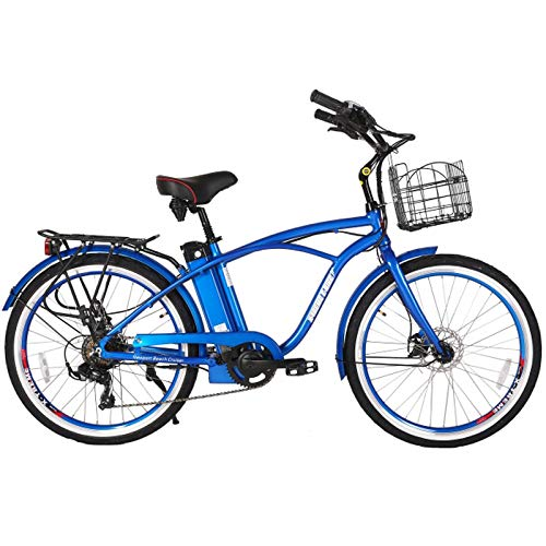 (X-Treme E-Bike Newport Elite Electric Beach Cruiser Bicycle - Blue)