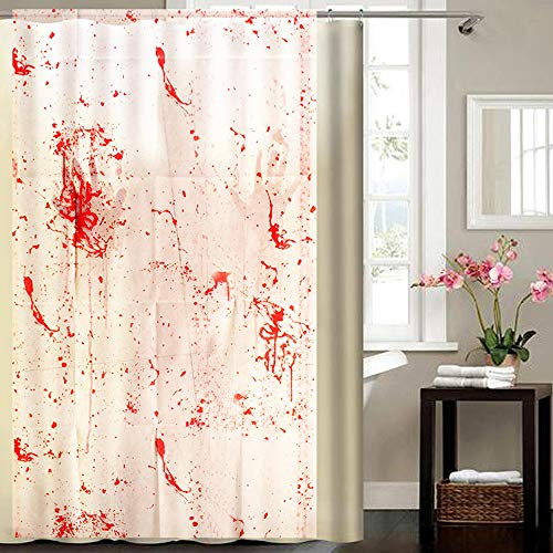 Wensltd Clearance! 1 PC Halloween Blood Splatter Shower Curtain Spatter Psycho Horror Halloween Bathroom Fabric -