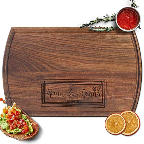 - Froolu Overlaping Squares laser engraved cutting board for Monogram Names Anniversary Gifts