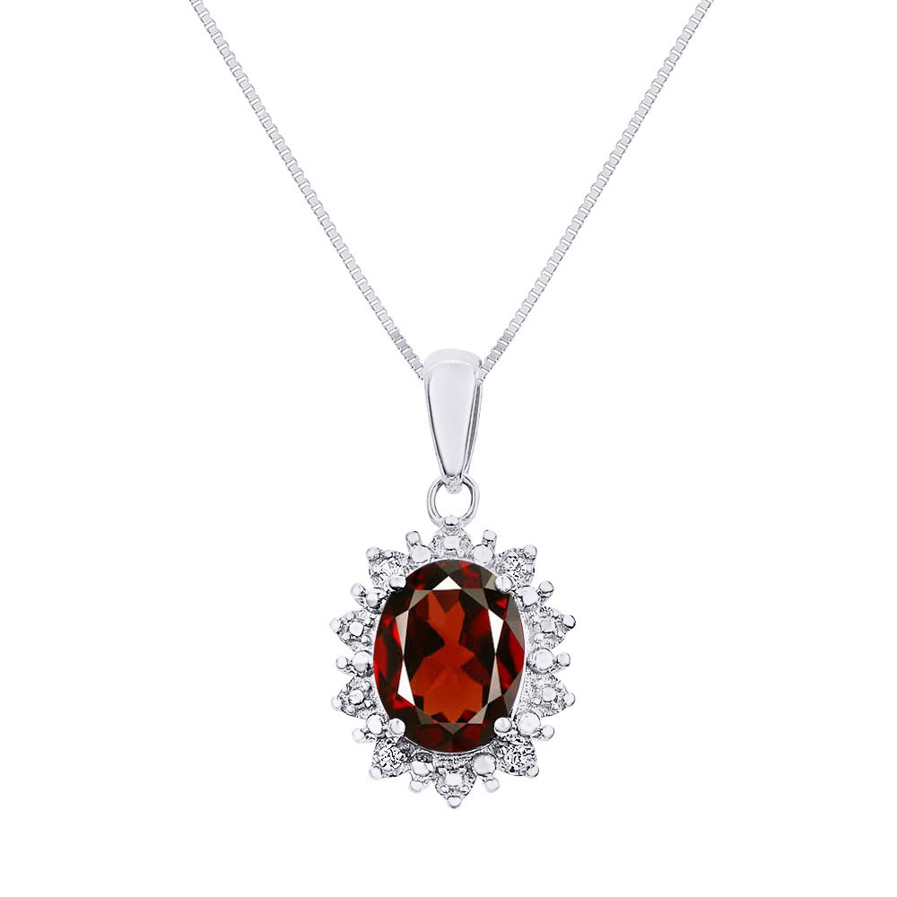 Rylos Diamond & Garnet Pendant Necklace Set in 14K White Gold with 18'' Chain Princess Diana Inspired Halo