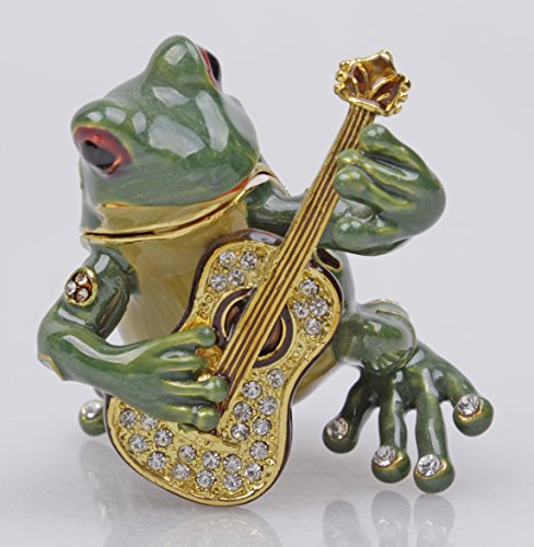 New Frog Trinket Box Beautiful Jeweled Pewter Frog Jewelry Box (Guitar) ()