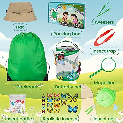Pumteck Outdoor Spiele für Kinder Schmetterlinge züchten mit Lupe Insektensammelflasche Insektennetz Hut Schmetterlingsmodell Schmetterlinge Züchten Kinder Outdoor Bildungs Kit (27 PCS)