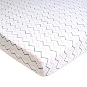 American Baby Company Printed 100% Cotton Jersey Knit Fitted Portable/Mini-Crib Sheet, Pink Zigzag