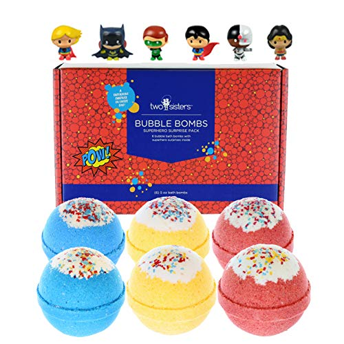 6 Kids Superhero Bubble Bath Bombs for Girls and Boys with Fun Surprise Toys Inside by Two Sisters Spa. XL Large Lush Spa Fizzies Gift Set. 99% Natural. Kid Friendly. USA Made.]()
