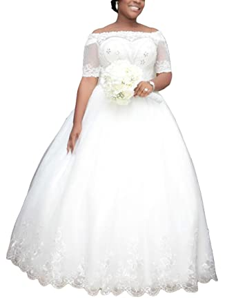 Dresstailor Womens Vintage Lace Beaded Wedding Dress With Sleeves
