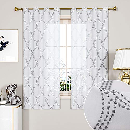 GRALI Casual Embroidered Semi Sheer Curtains, Contemporary Trellis Pattern Window Covering for Kitchen Short Window, 55 Inch by 63 Inch, 1 Pair, - Sheer Contemporary Curtains