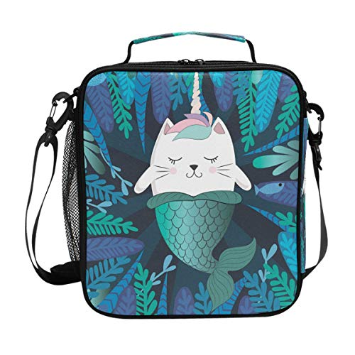 My Little Nest Insulated Cooler Square Tote Lunch Bag Funny Cat Unicorn Mermaid Thermal Work Picnic Food Organizer Lunchbox for Women Men - Square Tote Cat