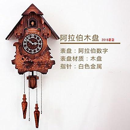HUANGYAHUI Despertador Relojes Grabado El Tiempo Reloj De Pared Reloj De Pared De Silencio Pequeña Casa