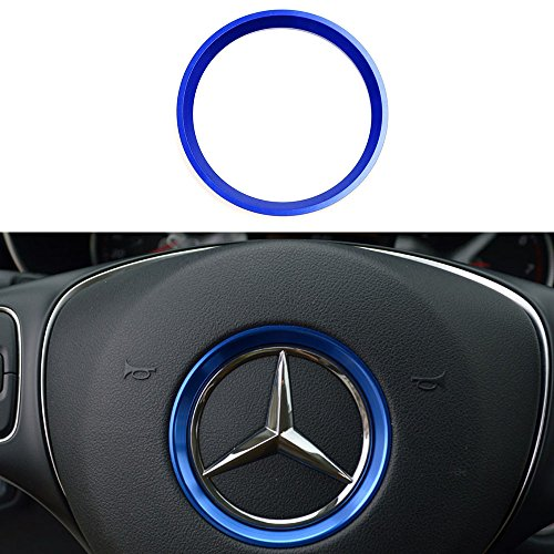 Duoles Sports Aluminum Steering Wheel Center Decoration Cover Trim for Mercedes B C E CLA GLA GLC GLK Class, etc (Blue, 2.3'' Inner Ring Size) ()