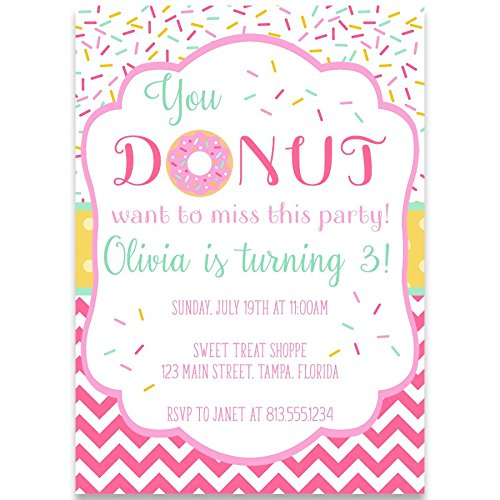 Birthday Party Invitations, Donut Birthday, White, Pink, Yellow, Mint, Sprinkles, Chevron Stripes, Polka Dots, You Donut Want to Miss This Party, First, Pack of 10 Printed Invites and - Yellow Birthday Invitations