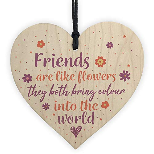 PotteLove Friends are Like Flowers Friendship Love Wood Heart Sign Thank You Birthday Gift