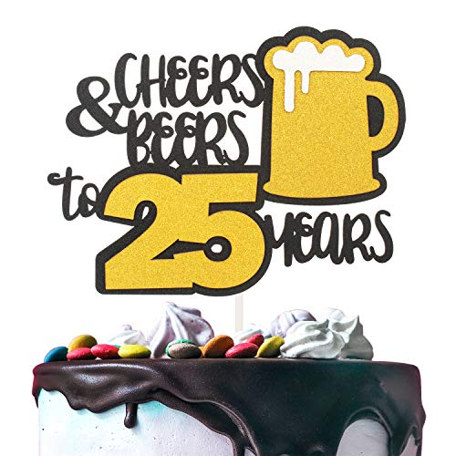 Cheers & Beers to 25 Years Gold Glitter Cake Topper Happy Birthday Wedding Anniversary 25th Party Decoration - 7'' x 8'' Twenty-five Bday Topper. ()