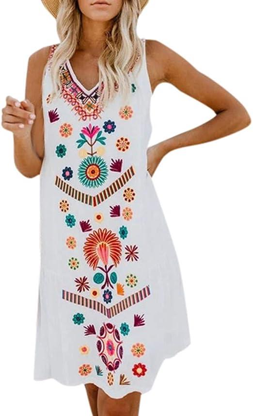 Vestidos de Mujer Casual Cortos, Vestidos de Verano Mujer 2019 Vestido de Playa Vestido de Algodón Lino botón Faldas Cortas Vestido de Bolsillo Vestido Color Sólido ...