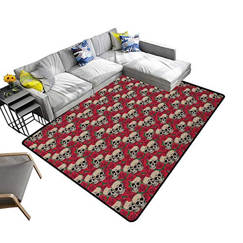 Rose Household Decorative Floor mat Graphic Skulls and Red Rose Blossoms Halloween Inspired Retro Gothic Pattern 78