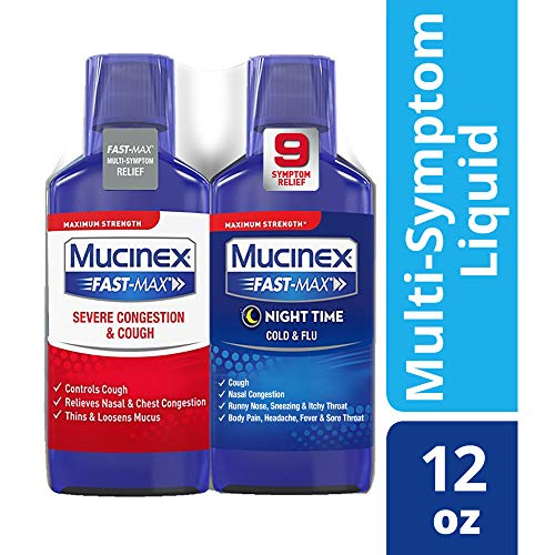 (Congestion, Cough, Cold and Flu, Mucinex Fast-Max Day/Night Time Relief Liquid 12oz (2x6oz) Relives Headache & Fever, Controls Cough, Relieves Nasal & Chest Congestion, Thins & Loosens Mucus)