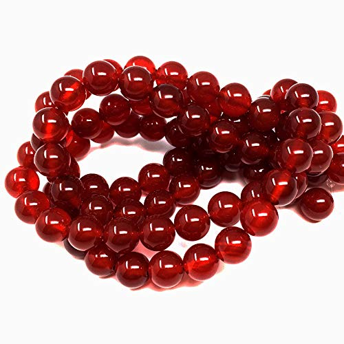 Chengmu 8mm Red Agate Beads for Jewelry Making Natural Gemstone Round Loose Stone Spacer Beads Assortments Supplies Accessories for Bracelet Necklace with Elastic ()
