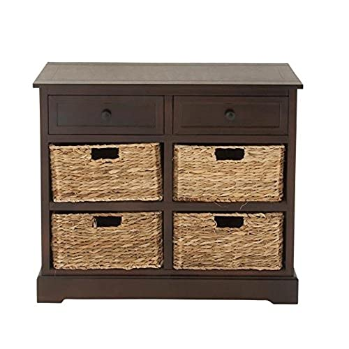 Deco 79 96179 Mastercraft Basket Cabinet With 4 Wicker Baskets
