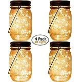 Solar Lanterns Hanging Mason Jar Lights,4 Pack Fairy Firefly Starry Led String Jar Lights (Jars/Handmade Woods/Hangers Included),for Mason Jar Patio Garden Wedding Wall Decor Light