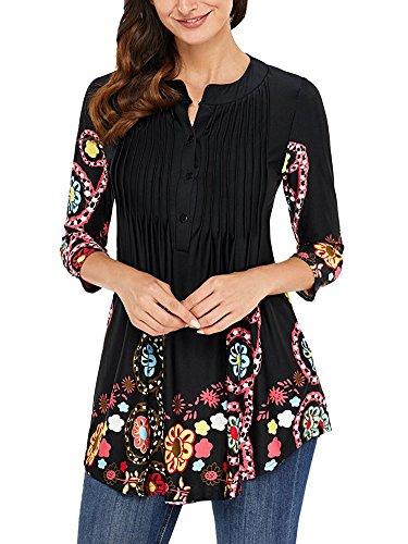 3 Imprim Femmes Blouse T Fit Shirt Hauts Elgante Bohme Tunique Col Shirts 4 V Basique Manches Minetom Tops Slim Noir Chemiser YqzqB