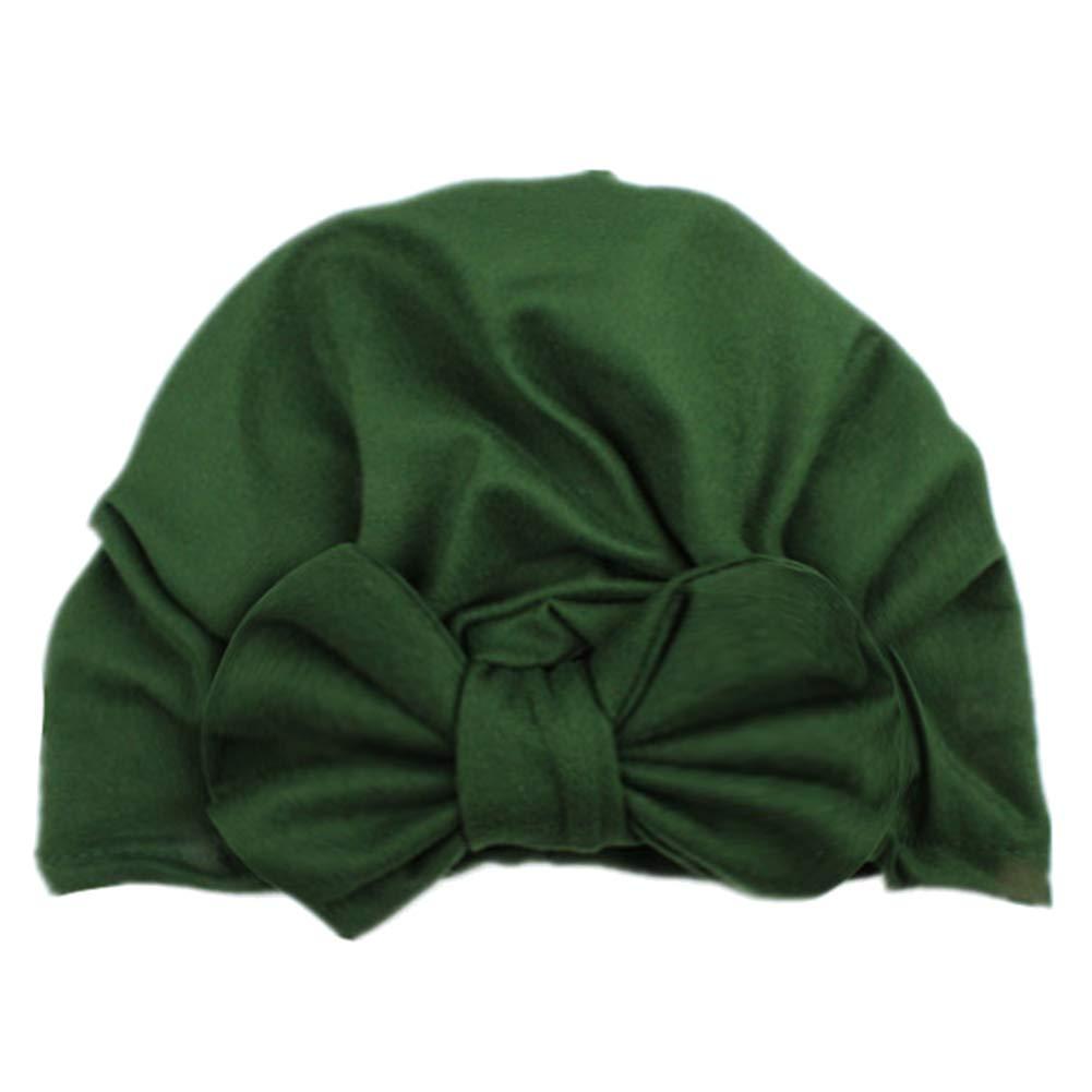 Duk3ichton Cute Bowknot Solid Color Turban Cap Toddler Baby Boy Girl Elastic Beanie Hat - Yellow