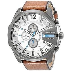 Diesel Men's DZ4280 Diesel Chief Series Stainless Steel Watch with Brown Leather Band