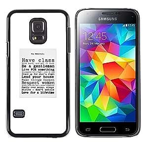 Caballero con clase Cita Sir texto del cartel- Metal de aluminio y de plástico duro Caja del teléfono - Negro - Samsung Galaxy S5 Mini (Not S5), SM-G800