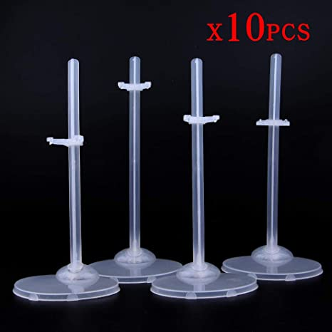 10 Pcs Doll Stand Display Holder for 11.5/'/' Dolls Transparent Model Support Mini