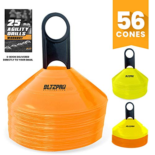 Bltzpro Disc Training Cones (Set of 56) - Agility Soccer/Football Cones with Carrying Bag and Holder. Ideal for Fitness Drill, Workout Speed Practice, Youth Kids Sports, Exercise for All Team Sports. (Team Practice Drills)