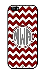 iZERCASE Monogram Personalized Maroon and White Chevron Pattern iphone 5 / iPhone 5S case - Fits iphone 5, iPhone 5S T-Mobile, AT&T, Sprint, Verizon and International (Black)