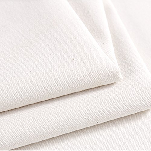 Canvas Blank Cotton Duck Fabric Tarp Backdrop Cloth- Can Freely DIY Stitching Seam at Edge Utilized for Home Office Patio Deck Art Painting Party Wedding Decor HSW-88-001,Off-White