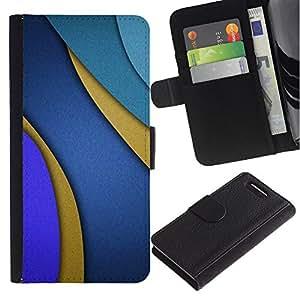 [Neutron-Star] Modelo colorido cuero de la carpeta del tirón del caso cubierta piel Holster Funda protecció Para Sony Xperia Z3 Compact / Z3 Mini (Not Z3) [Líneas Azul púrpura del extracto del oro]