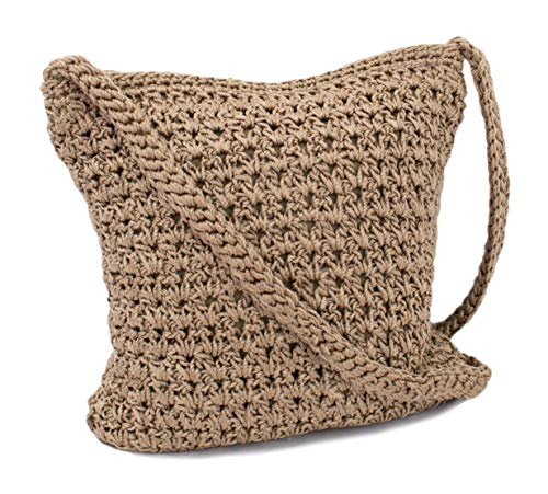 Boho Crochet Crossbody Handbag, Organizer Sling Bag, Small Crocheted Hippie Purse (Brown)