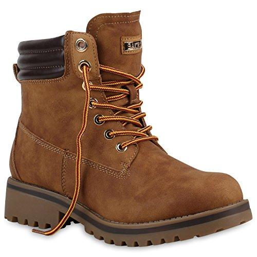 Stiefelparadies Damen Stiefeletten Worker Boots mit Blockabsatz Metallic Profilsohle Flandell Hellbraun
