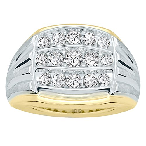 (Men's 10k Two-Tone Gold with Satin Finish Detail Diamond Wedding Band (1 cttw, H-I Color, I1-I2 Clarity), Size 9)