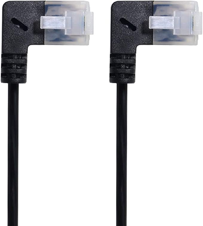 Xiwai Down Angled 90 Degree STP UTP Cat 5e Male to Female Panel Mount Ethernet Network Extension Cable 30cm Lysee Data Cables