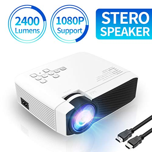 Azk E400 Video Mini Projector,[2019 Upgrade] 1080P Supported 170″ Display 2400 Lux Portable Movie Projector with 40000 Hrs LED Life, Dual Built-in Speakers,Compatible with TV Stick,PS4,HDMI,VGA,SD,USB