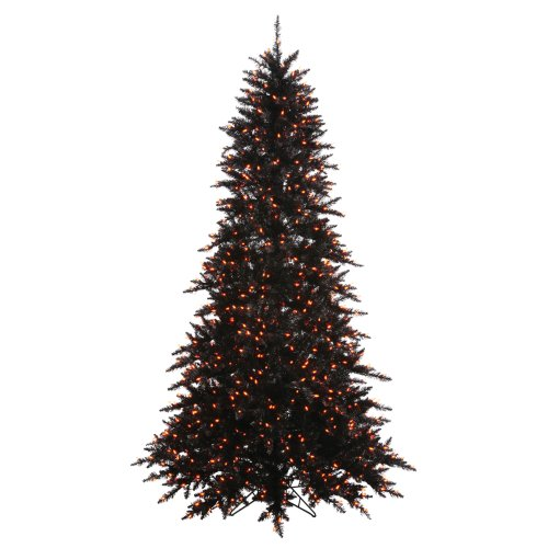 Vickerman Black Fir with Orange Lights Christmas Tree