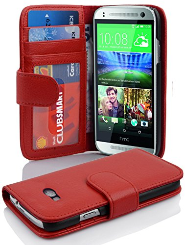 (Cadorabo Book Case Works with HTC ONE M8 Mini (2.Gen.) in Inferno RED - with Magnetic Closure and 3 Card Slots - Wallet Etui Cover Pouch PU Leather)