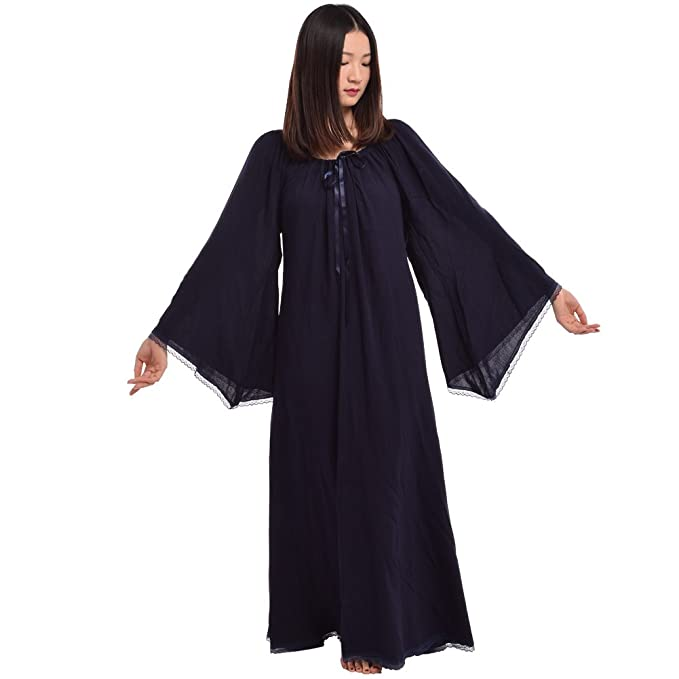 BLESSUME Vestido de Cosplay Vestido Medieval Mujer renacentista Mezcla de algodón (Azul, S)